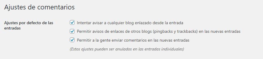 ajustes de comentarios wordpress